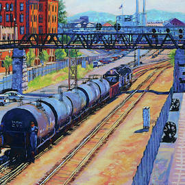 City Lines - Norfolk Southern Tracks in Roanoke Virginia by Bonnie Mason
