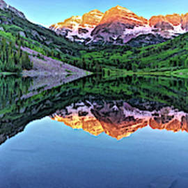 Clear Day At Maroon Bells  by OLena Art - Lena Owens