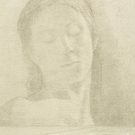 Closed Eyes, 1890 color litho by Odilon Redon