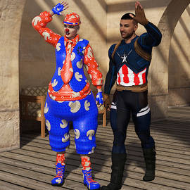 Clown and Superhero by Barroa Artworks