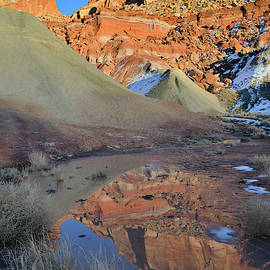 Cohab Canyon Reflection In Capitol Reef by Ray Mathis