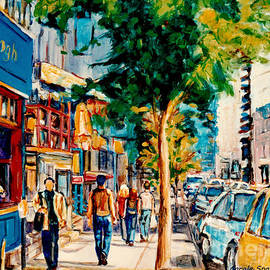 Colorful Cafe Painting Irish Pubs Bistros Bars Diners Delis Downtown C Spandau Montreal Eats         by Carole Spandau