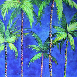 Colorful Family Of Five Palms by Kristen Abrahamson