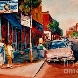 Colorful Montreal Streets  C Spandau Canadian Cityscene Artist Mile End Plateau Quebec Fine Art  by Carole Spandau