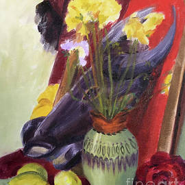 Colorful Still Life Painting Surrounding An African Tribal Mask by Greta Corens