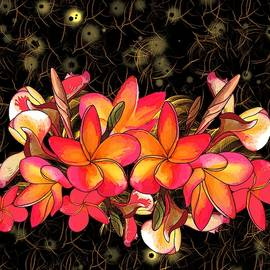 Coloured Frangipani Black and Gold Background by Joan Stratton