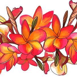 Coloured Frangipani white bkgd3 by Joan Stratton