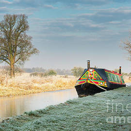 Colourful Barge On A Frosty Canal by Tim Gainey