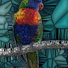 Colourful Lorikeet-The Stained Glass Effect. by Trudee Hunter