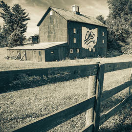 Columbus Ohio Bicentennial Barn And Fence - Sepia 1x1 by Gregory Ballos