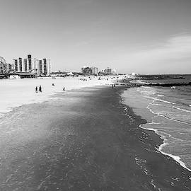 Coney Island Beach to Brooklyn in Black and White by Nicola Nobile