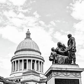 Confederate Women Monument and the Capital Dome Arkansas - BW by Scott Pellegrin