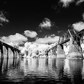 Congaree River Crossing  Infrared Black and White by Charles Hite