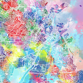 Bekim Art - copenhagen map watercolor