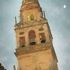 Cordoba Spain Bell Tower and Moon by Joan Carroll
