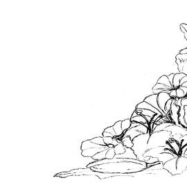 Corner Floral Bouquet - PAINT MY SKETCH by Delynn Addams by Delynn Addams