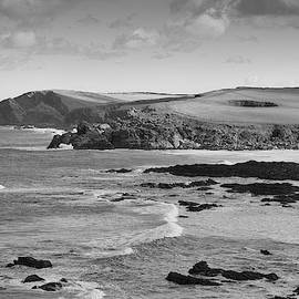 Cornish Cliffs In Black And White by Mark Hunter