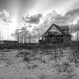 Cottage On The Dunes In Black And White by Debra and Dave Vanderlaan