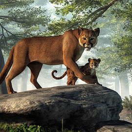 Cougar And Cub by Daniel Eskridge