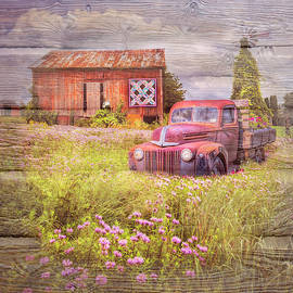 Country Summerfields with Wood Textures by Debra and Dave Vanderlaan
