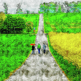 Countryside Road watercolor drawing  by Hasan Ahmed