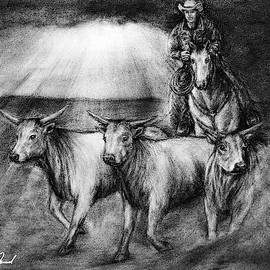 Cowboy's cattle work during an oncoming storm by Walter Israel