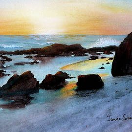 Crystal Cove in Blue and Gold by Janice Sobien