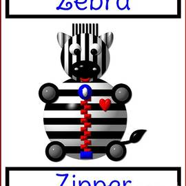 Cute Critters With Heart Zebra With A Zipper by Rose Santuci-Sofranko
