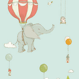 Cute Elephant Floating In The Sky Whimsical Art For Kids by Matthias Hauser