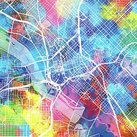 Bekim Art - dallas map watercolor
