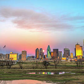 Dallas Skyline Supermoon by Charles Dobbs