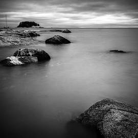 Dark Skies Over Tuxis Island Bw by Simmie Reagor