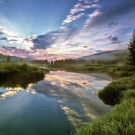 Deadwood River Reflection Sunrise by Leland D Howard