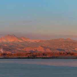 December Full Moon Setting Colorado Rocky Mountains by James BO Insogna