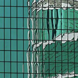 Deep Green High-rise Reflections in Admiralty, Hong Kong, China - digital artwork 2 by Terence Kerr