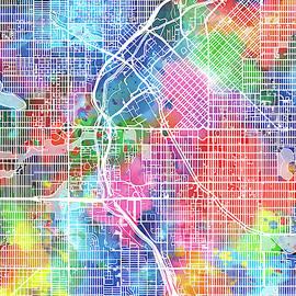 Bekim Art - denver map watercolor