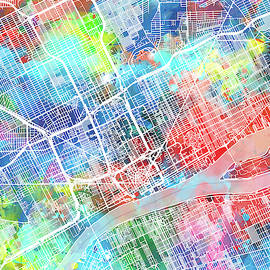 Bekim Art - detroit map watercolor
