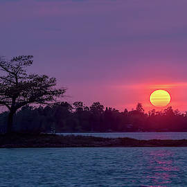 Detroit Point Glowing Sunset by Ron Wiltse