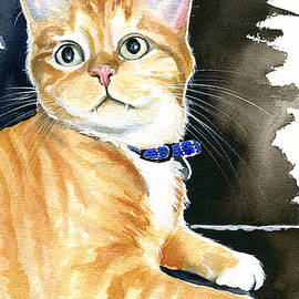 Diego Ginger Tabby Cat Painting by Dora Hathazi Mendes