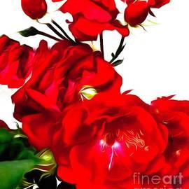 Digital Painting Of Red Roses by Debra Lynch