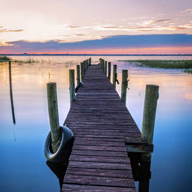 Dock into Dawn in Square by Debra and Dave Vanderlaan