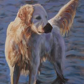 Dog at the sea by Elena Sokolova