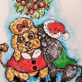 Dogs Kissing Under The Mistletoe by Geraldine Myszenski