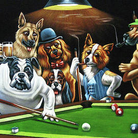 Dogs Playing Pool after original by Coolidge