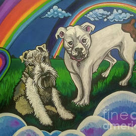 Double Dog Portrait Double Rainbows by Genevieve Esson