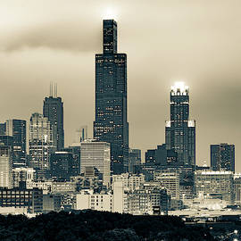 Downtown Chicago Skyline In Sepia by Gregory Ballos