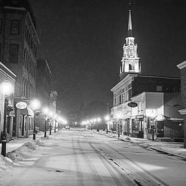 Downtown Newburyport  Ma In The Winter Black And White by Toby McGuire