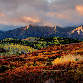 Dramatic Colorful Fall Sunrise In Colorado San Juan Mountains by Teri Virbickis
