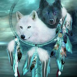 Dream Catcher - White Wolf Black Wolf by Carol Cavalaris