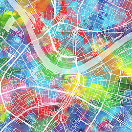 Bekim Art - dresden map watercolor